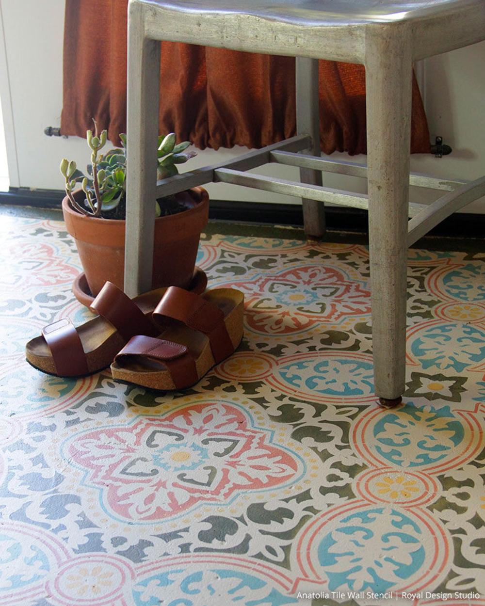 Large Tile Stencils For Painting Diy Decor Faux Tiled
