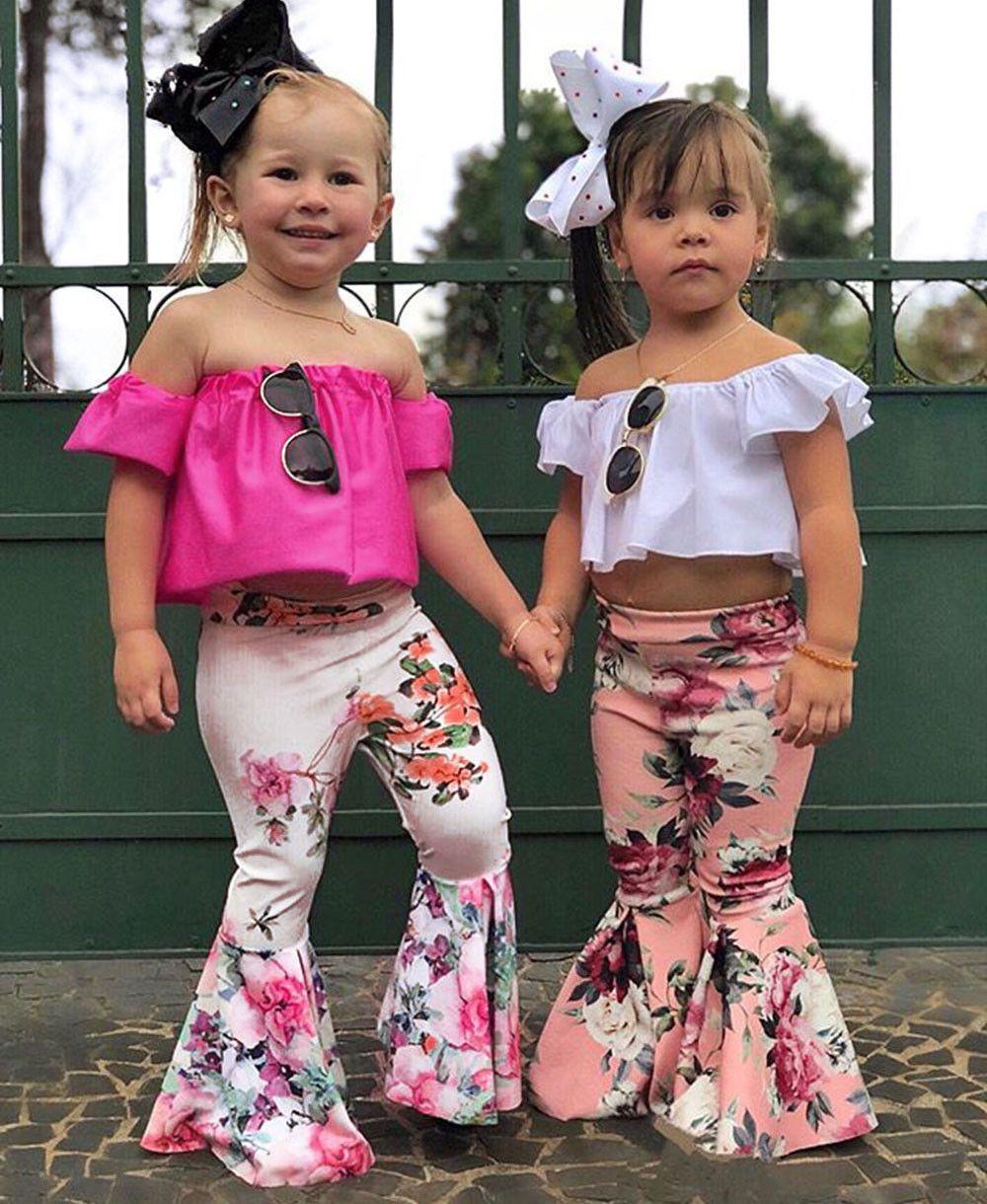 2Pc Summer Toddler Baby Kids Girl Off Shoulder Tops+Bell-bottoms Pant Set Outfit