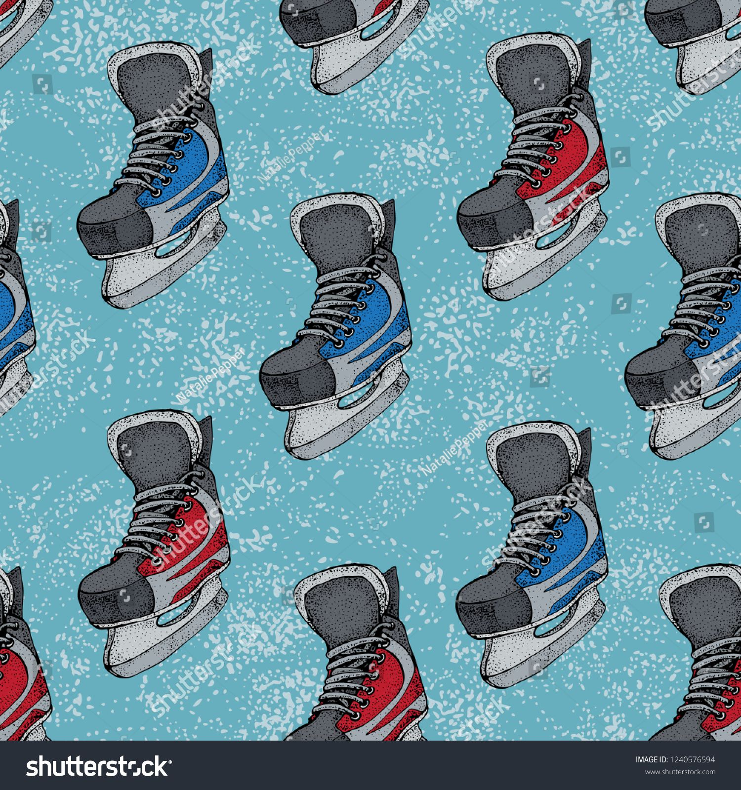 Winter Holidays Seamless Pattern With Ice Skates Cartoon Sketch Red And Blue Ice Hockey Skates Vector Ill Cartoon Sketches Blue Backgrounds Seamless Patterns