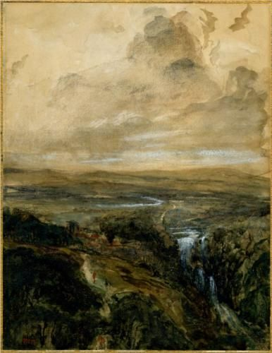 Theodore Rousseau, Landscape in the Auvergne, watercolor, c.1830, British Museum, London, U.K.  Choppy & Soft with Wonderful Watercolors | Paint Watercolor Create  http://paintwatercolorcreate.blogspot.com/2013/10/choppy-soft-with-wonderful-watercolors.html