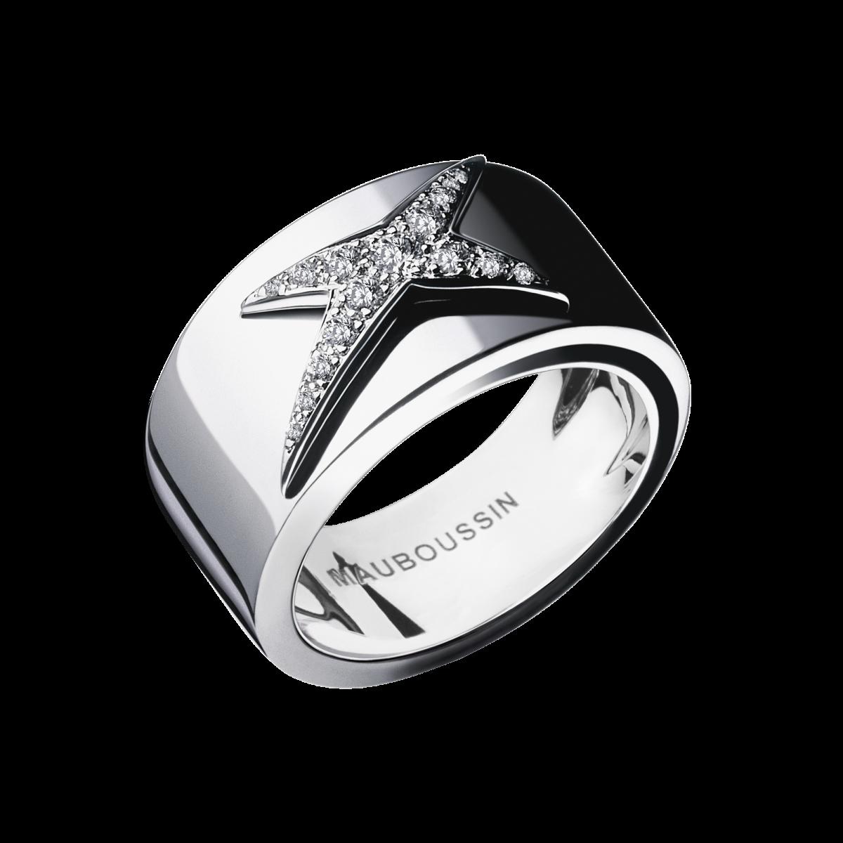 Très Bague Etoile Divine, or blanc, pavage diamants - Mauboussin  PG56