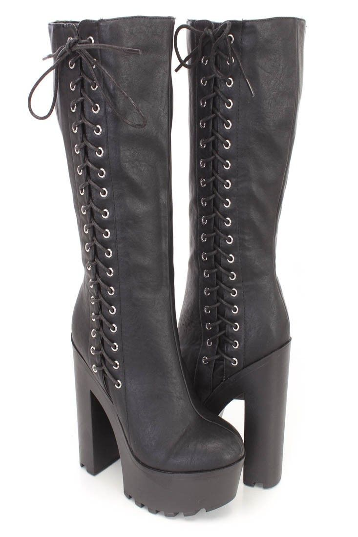 ab0c7814faa Gothic Punk Rock Side Lace-up Lug Sole Chunky High Heel Platform ...