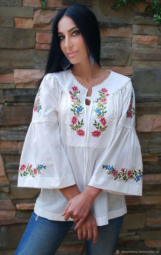 45796c9915b Блузки ручной работы. Ярмарка Мастеров - ручная работа. Купить  Очаровательная белая блузка с ручной вышивкой  Нежное цветение . Handmade.