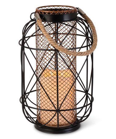 Loving this 10.03'' Black & Bronze Rope-Handle Lantern on #zulily! #zulilyfinds