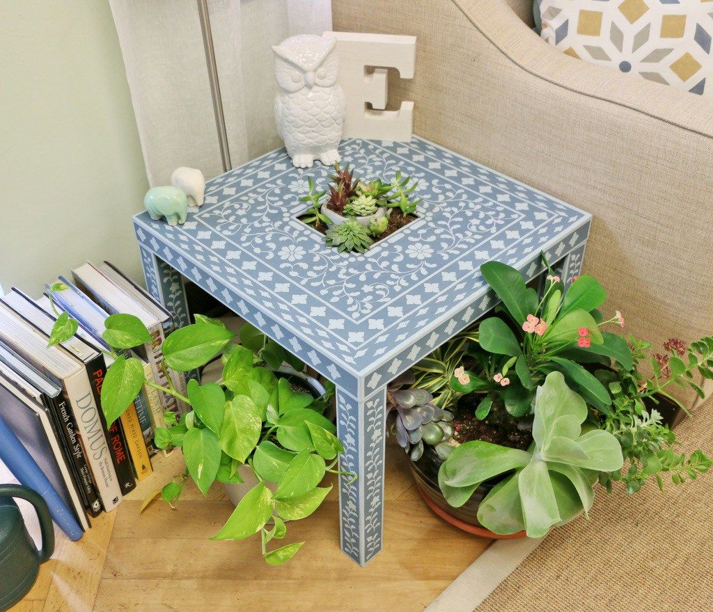 Ikea Lack Stencilled Accent Table For Succulents Ikea Hackers Ikea Lack Table Creative Painted Furniture Lack Table [ 880 x 1024 Pixel ]