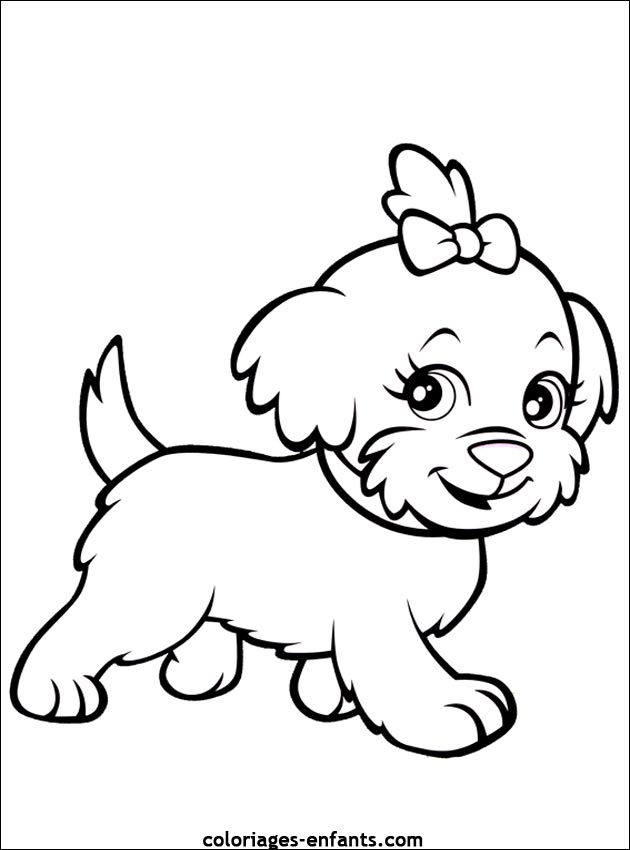 Simple Dog Coloring Page For Children Cute Little Dog Puppy Coloring Pages Dog Coloring Page Cat Coloring Page