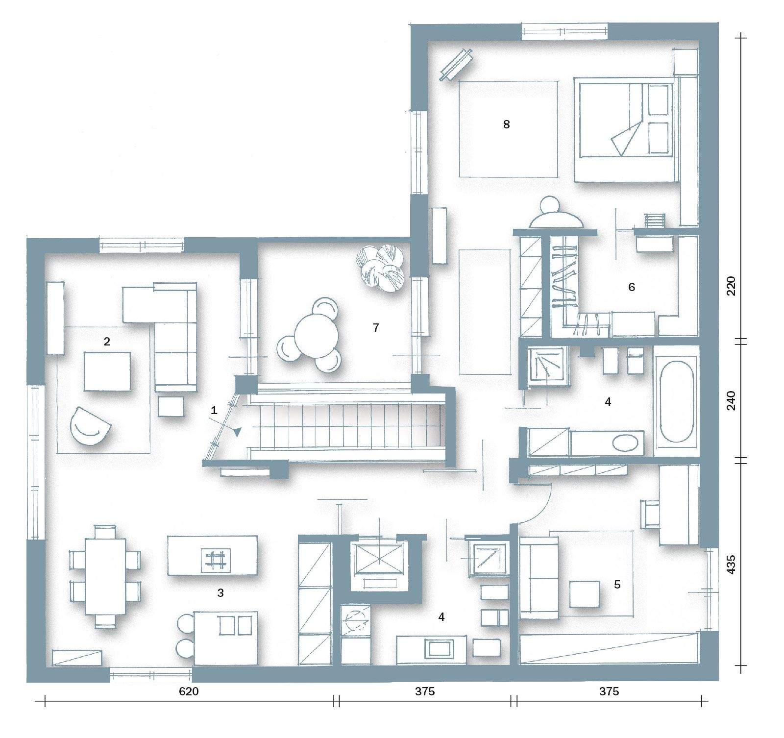 Pianta casa 1600 1506 architettura pinterest for Pianta casa 70 mq