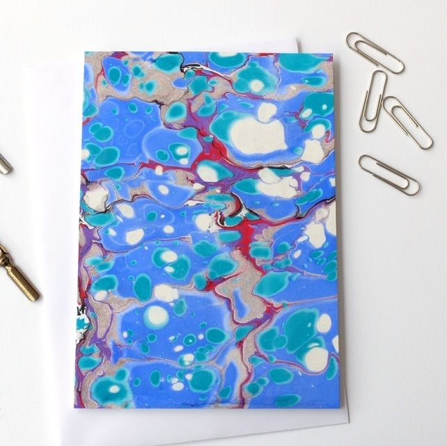 Unique Marbled Paper Art Greetings Card Metallic Stone Pattern Stone Pattern Paper Art Marble Paper
