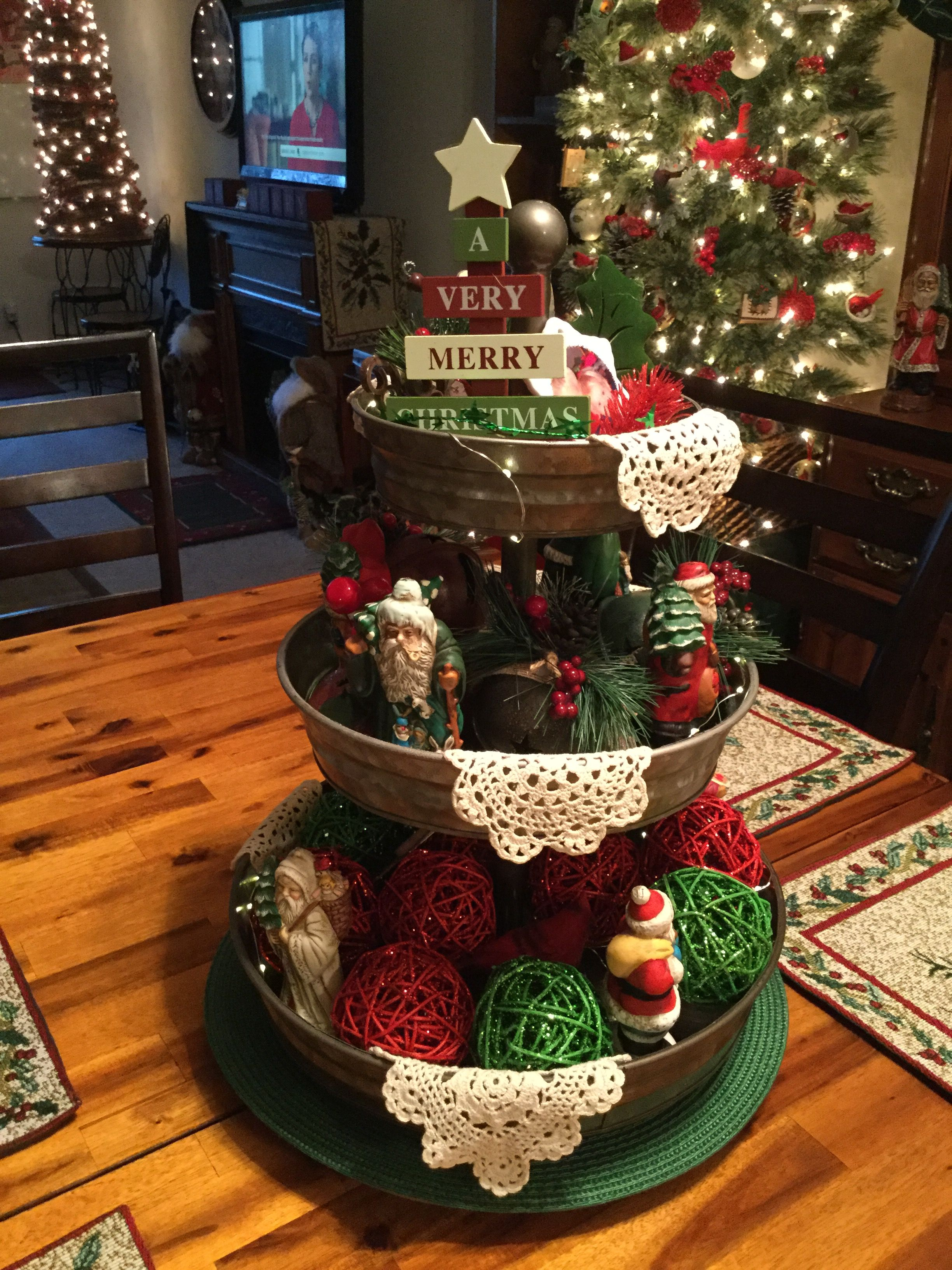 Pin By Liza Cordero On Decorating 3 Tiered Trays Tray Decor Christmas Christmas Decorations Rustic Christmas Centerpieces