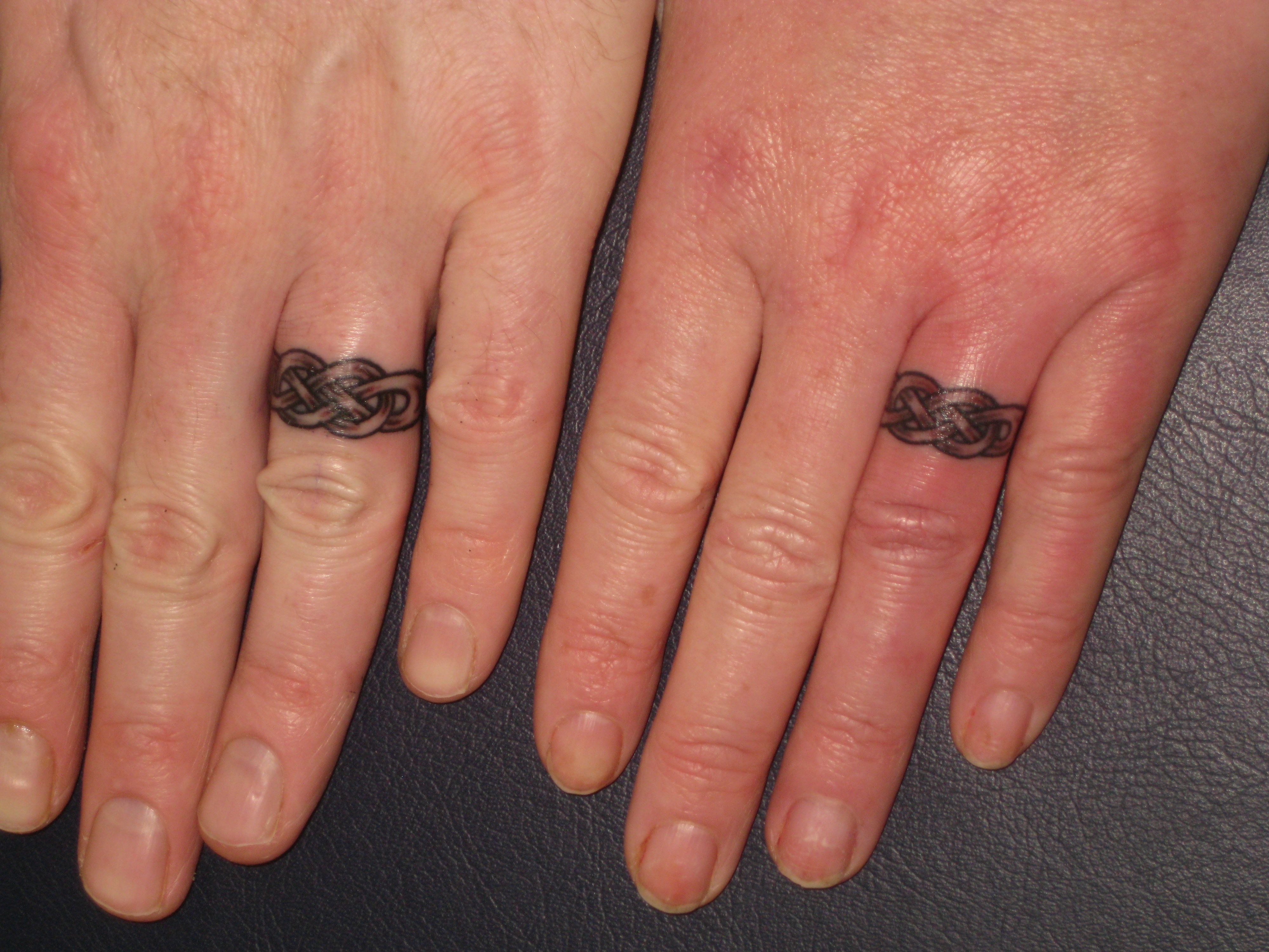 matching celtic wedding rings bands fingers irish street tattoo