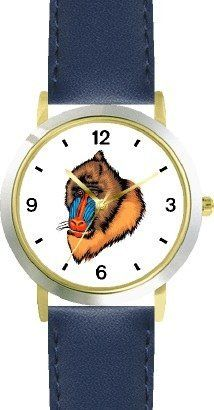 Mandrill Monkey Animal - WATCHBUDDY® DELUXE TWO-TONE THEME WATCH - Arabic Numbers - Blue Leather Strap-Children's Size-Small ( Boy's Size & Girl's Size ) WatchBuddy. $49.95