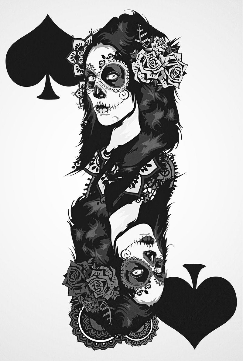 Queen of spades | Dia De Los Muertes | Pinterest | Queens ...