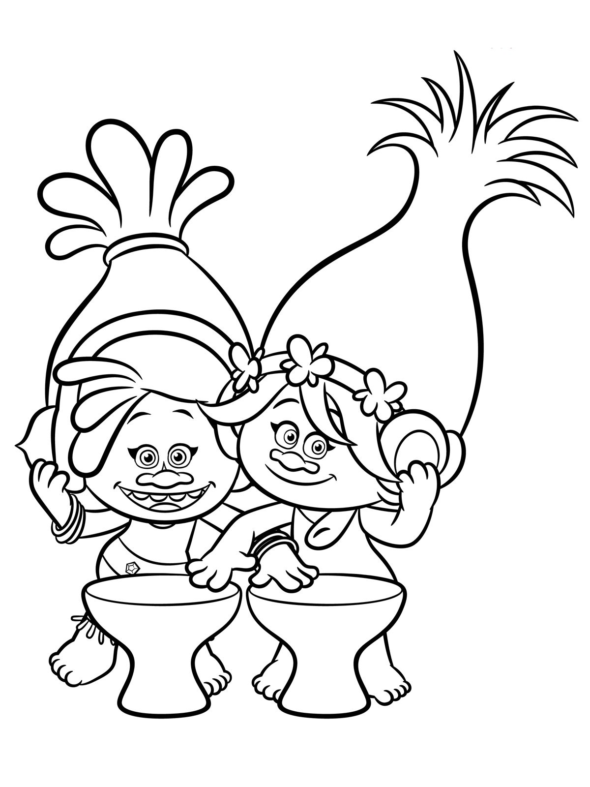 Free coloring pages to print and color - Trolls Coloring Pages To Download And Print For Free