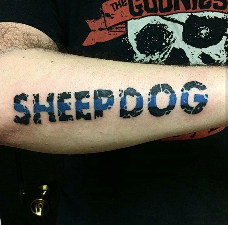 Sheepdog thing blue line tat Sheepdog tattoo, Picture