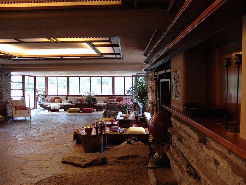 Frank lloyd wright fallingwater interior 7 casa de la for Casa moderna wiki