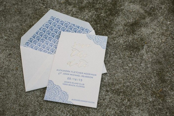 Tawny matte + cornflower letterpress save the dates from ...