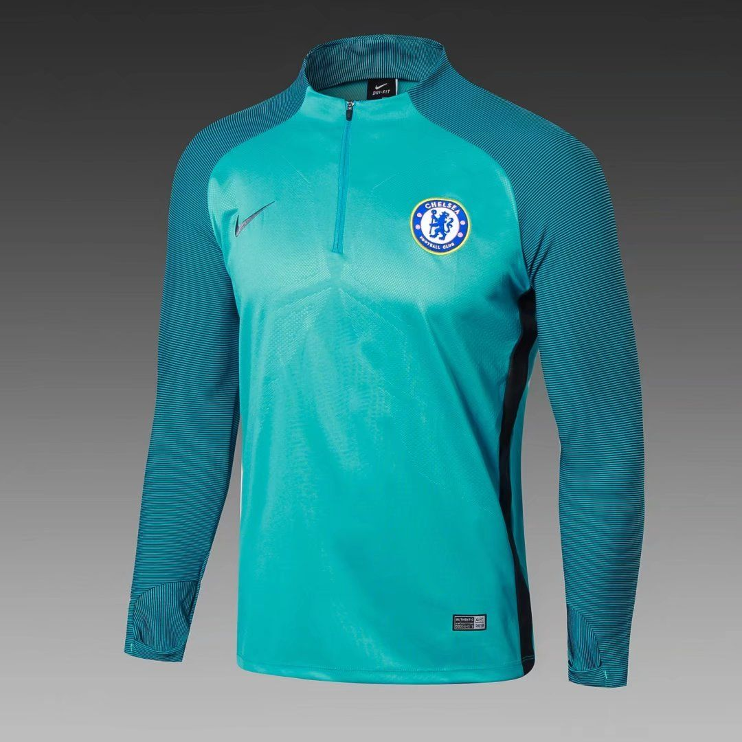 100% authentic 98217 0136e Chelsea 2017/18 Green Long Sleeve Training Top 2 | Products ...