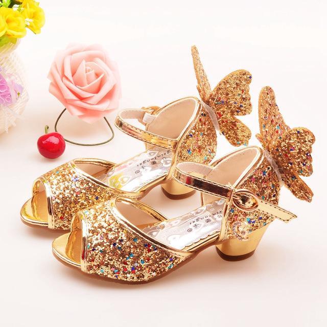 7862e3e59eb ULKNN Girls Sandals Rhinestone Butterfly pink Latin dance shoes 5-13 years  old 6 children 7 summer high Heel Princess shoes kids