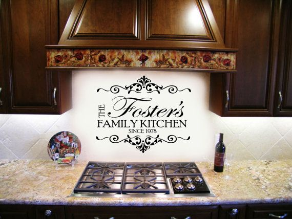 Family Name Kitchen Decal   With Established Date Home Decor Vinyl Wall  Lettering Decals Large Size