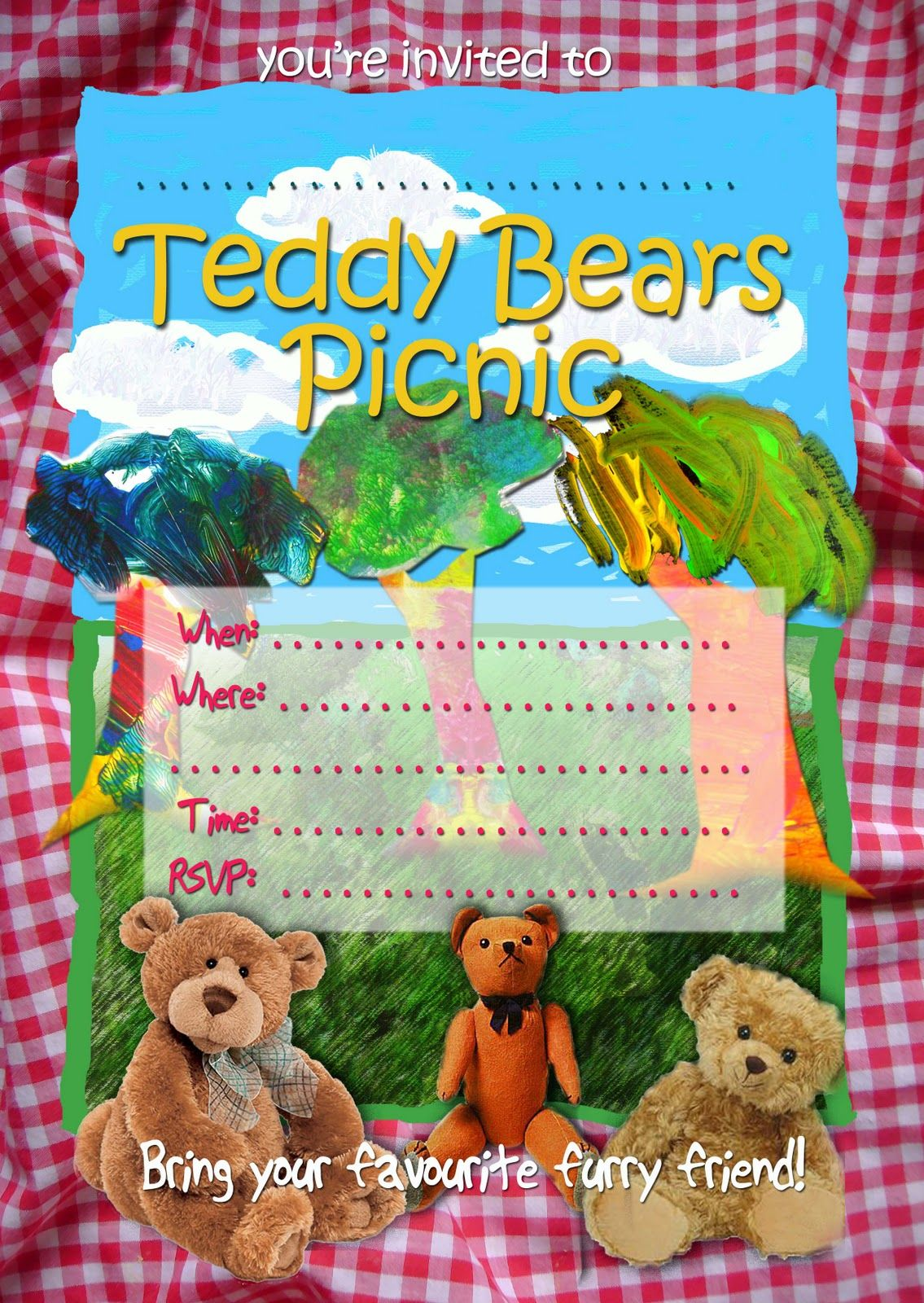 FREE Kids Party Invitations: Teddy Bears Picnic Invitation ...