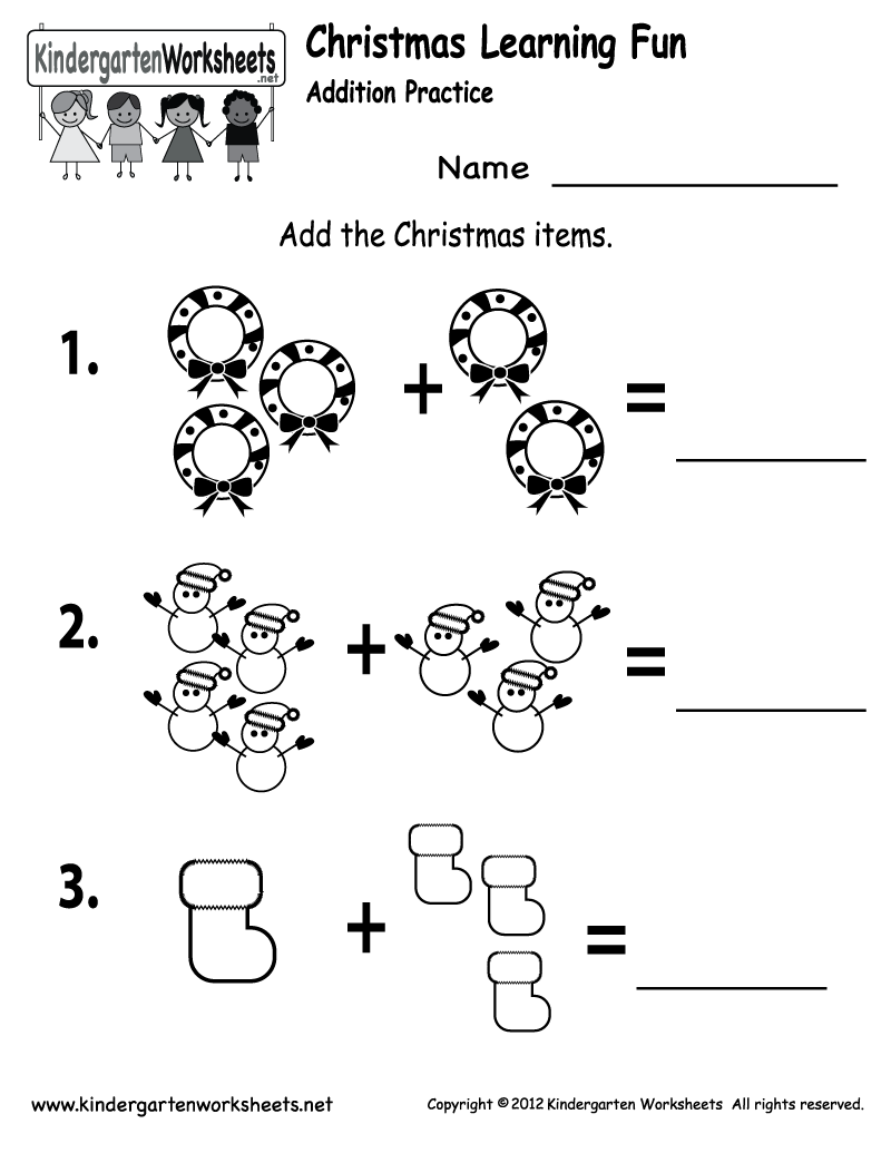 Kindergarten Christmas Addition Worksheet Printable | Christmas ...