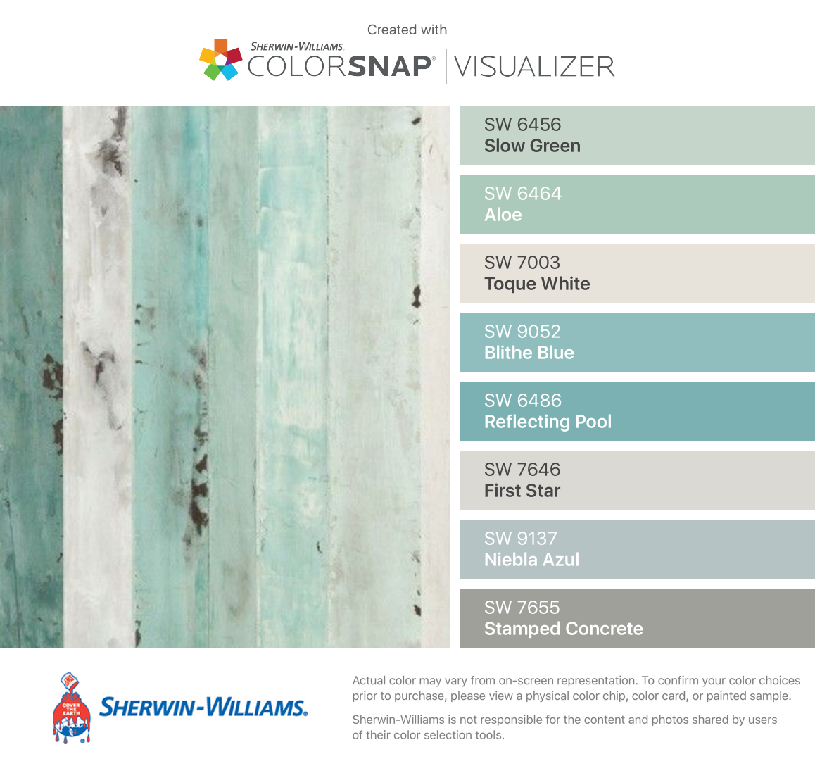 i found these colors with colorsnap visualizer for iphone by sherwin williams slow green sw. Black Bedroom Furniture Sets. Home Design Ideas