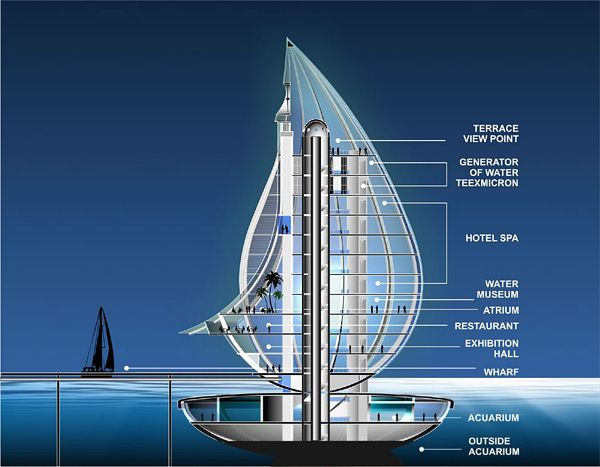 Water Building Resort Futuristic design Modern architecture and