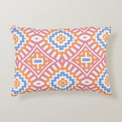 Boho Chic Orange Pink Yellow Ethnic Geometric Accent Pillow
