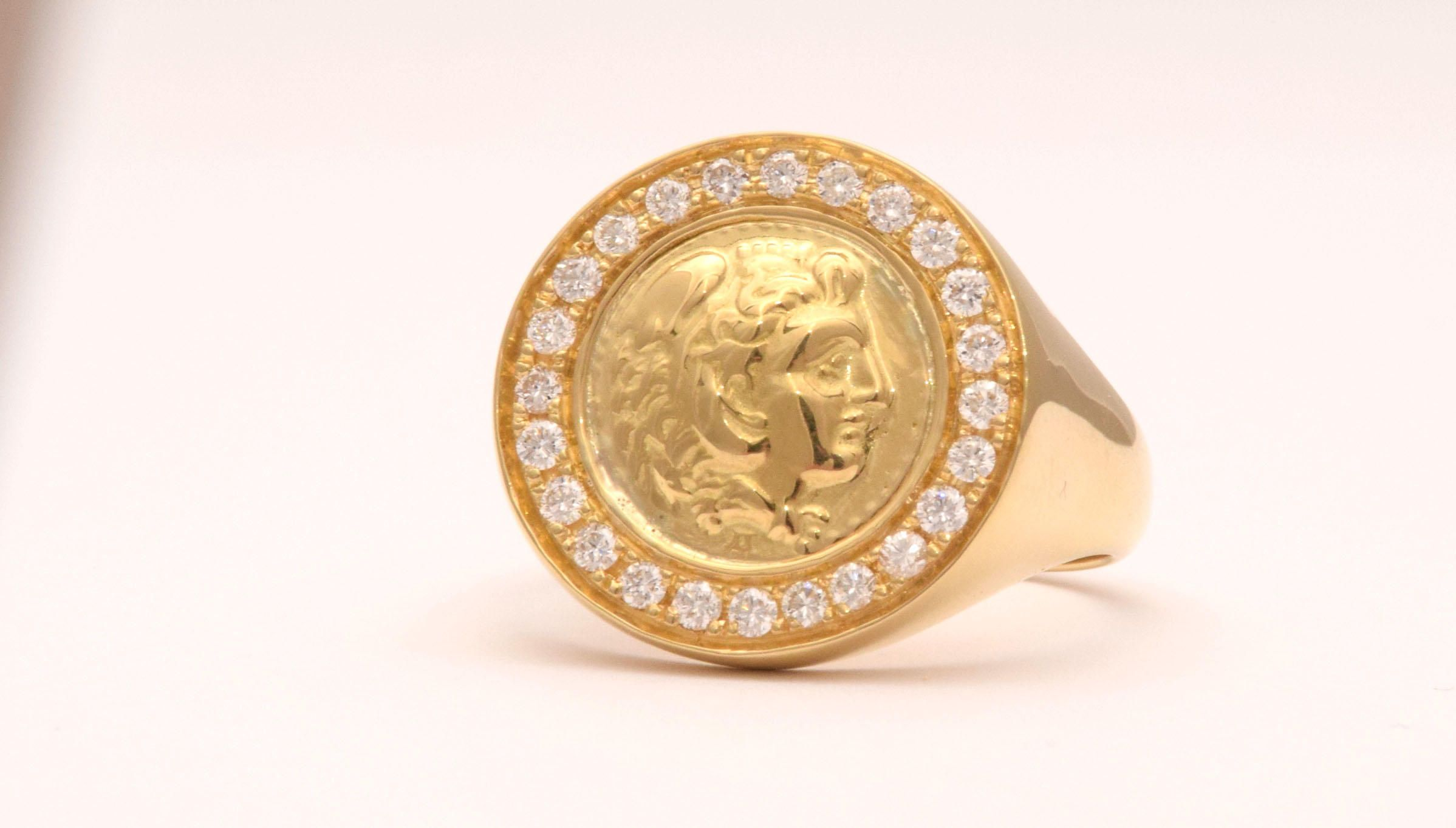 Signet Ring, Sovereign Ring, Alexander The Great, Coin Signet Ring ...