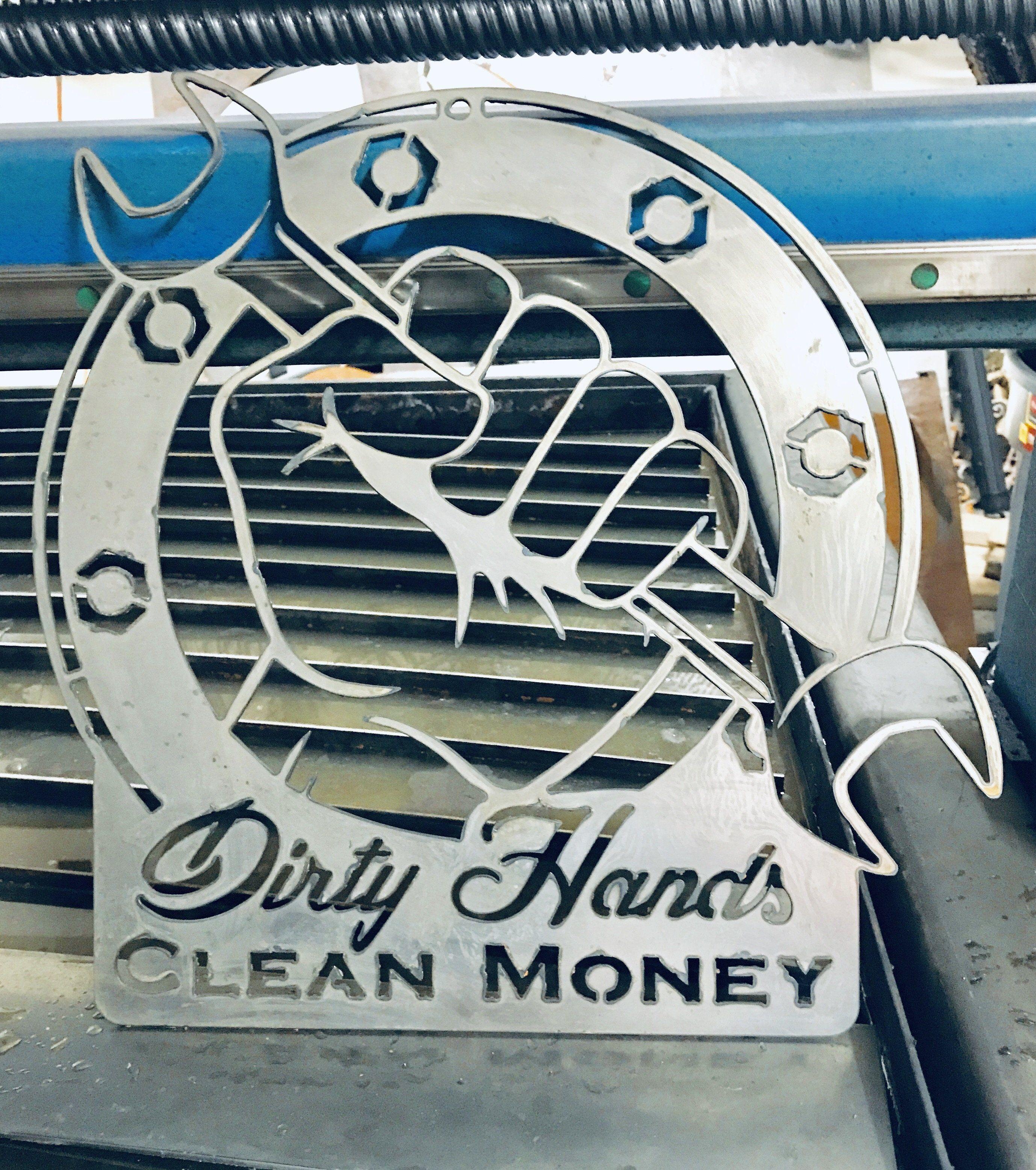 Dirty Hands Clean Money Vinyl Sticker Decal Diesel Mechanic Aircraft Motorcycle
