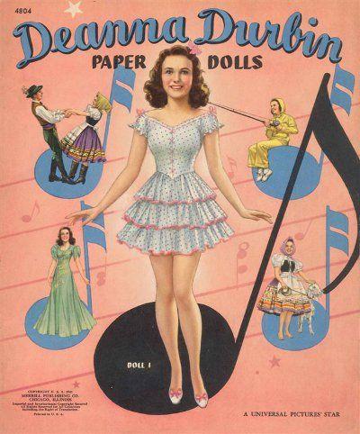 VINTAGE UNCUT 1947 GENE TIERNEY PAPER DOLLS~#1 REPRODUCTION~NOSTALGIC//PRETTY