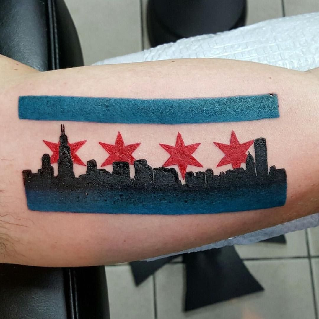 Chicago flag and skyline tattoo by donmeatball