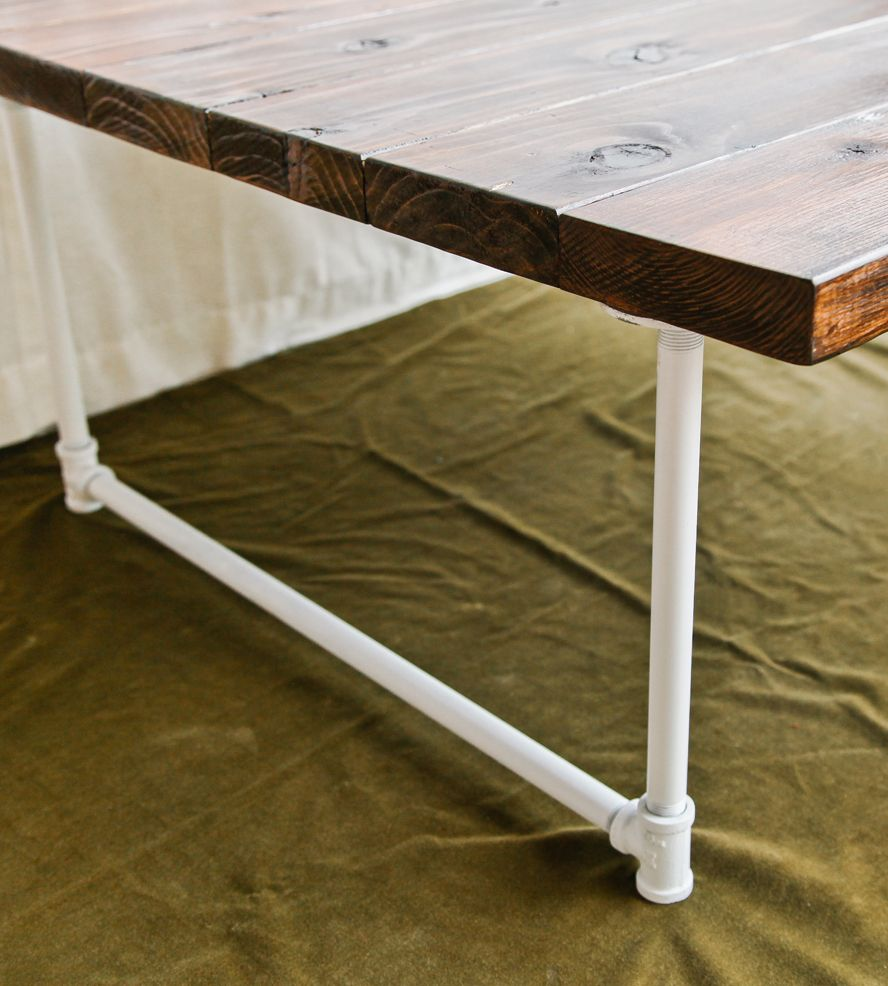 Industrial Coffee Table White: Reclaimed Redwood Coffee Table With White Industrial Legs