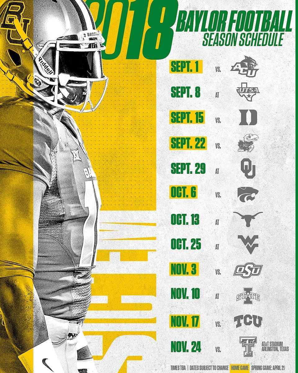 Baylor Baylor football, Sports design inspiration, Baylor