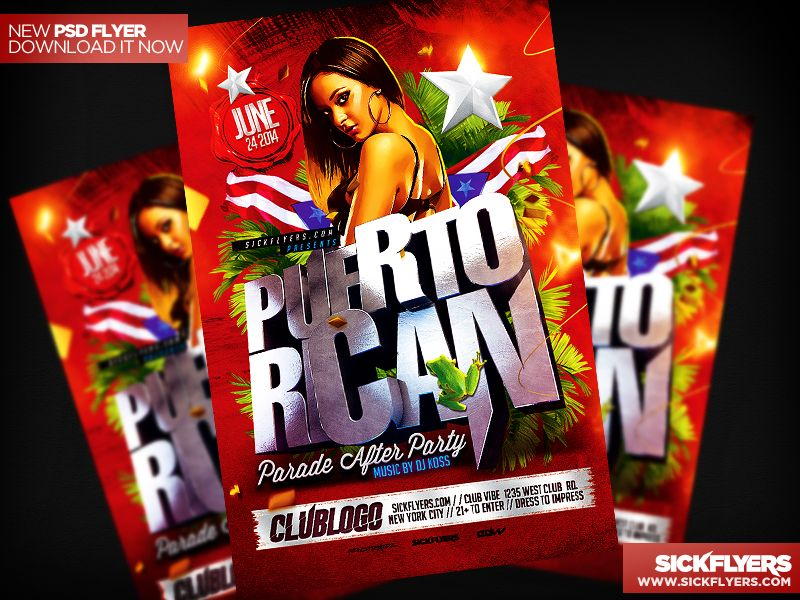 Puerto Rican Party Flyer Template PSD by Industrykidz