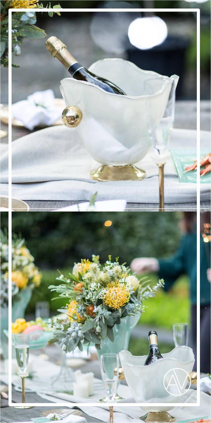 AnnaVasily Sharmi, Gold glass champagne ice bucket on