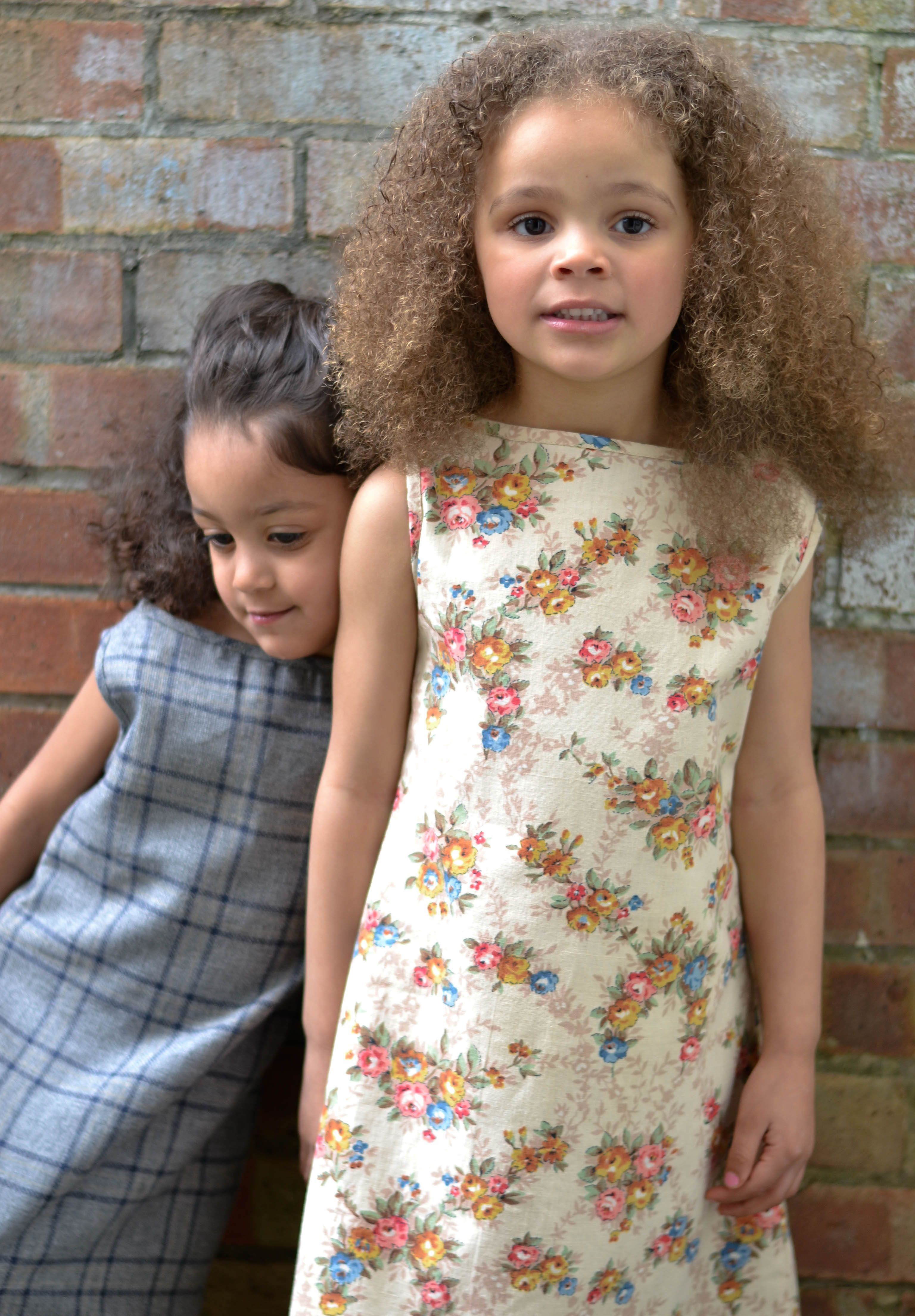 Shift dresses in Grey Navy check and Vintage floral print