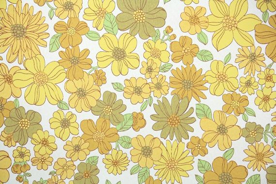 Retro Wallpaper By The Yard 60s Vintage Wallpaper 1960s Yellow Daisies Mod Floral Retro Wallpaper Laptop Wallpaper Cute Desktop Wallpaper