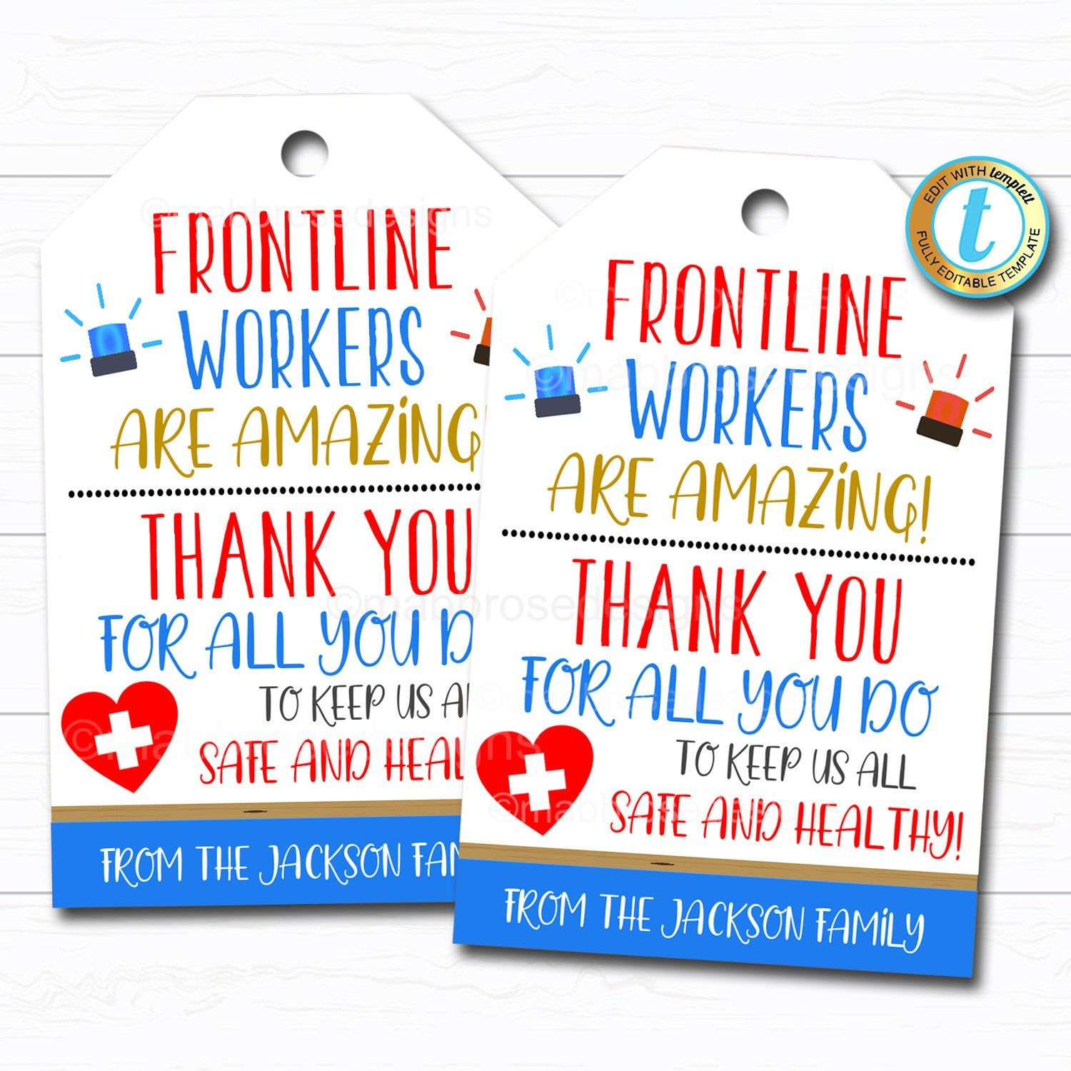 Frontline workers appreciation gift tag thank you gift