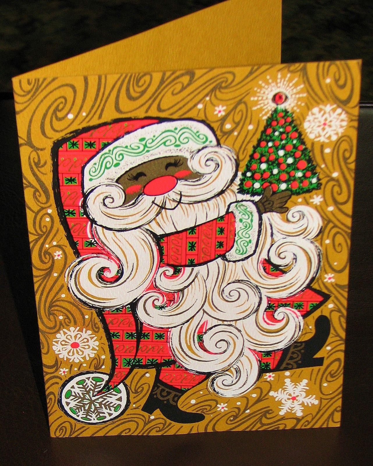 Vintage Mod Groovy Santa Christmas Greeting Card. Personalized ...