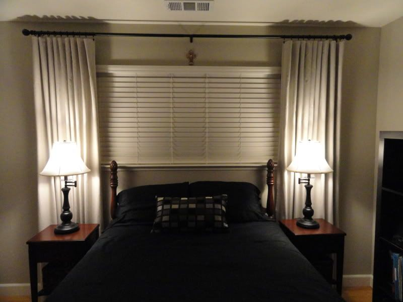 window treatment idea for short, wide window above the bed | my