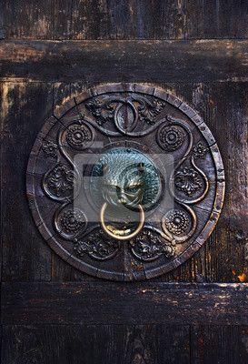 Wall mural Antique knob on a wooden door, Augsburg, Germany