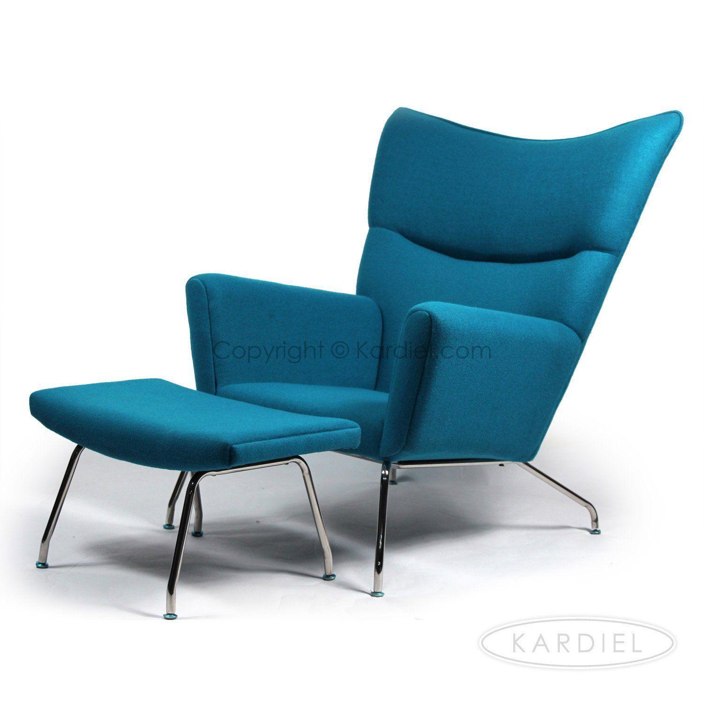 amazon com kardiel hans j wegner style wing chair ottoman