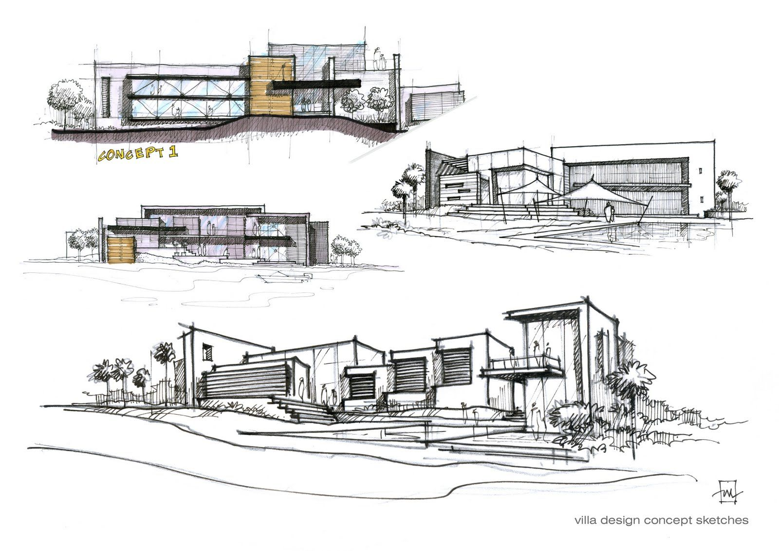 Villa design concept sketches atelier2 sketching for Architectural plans of famous buildings