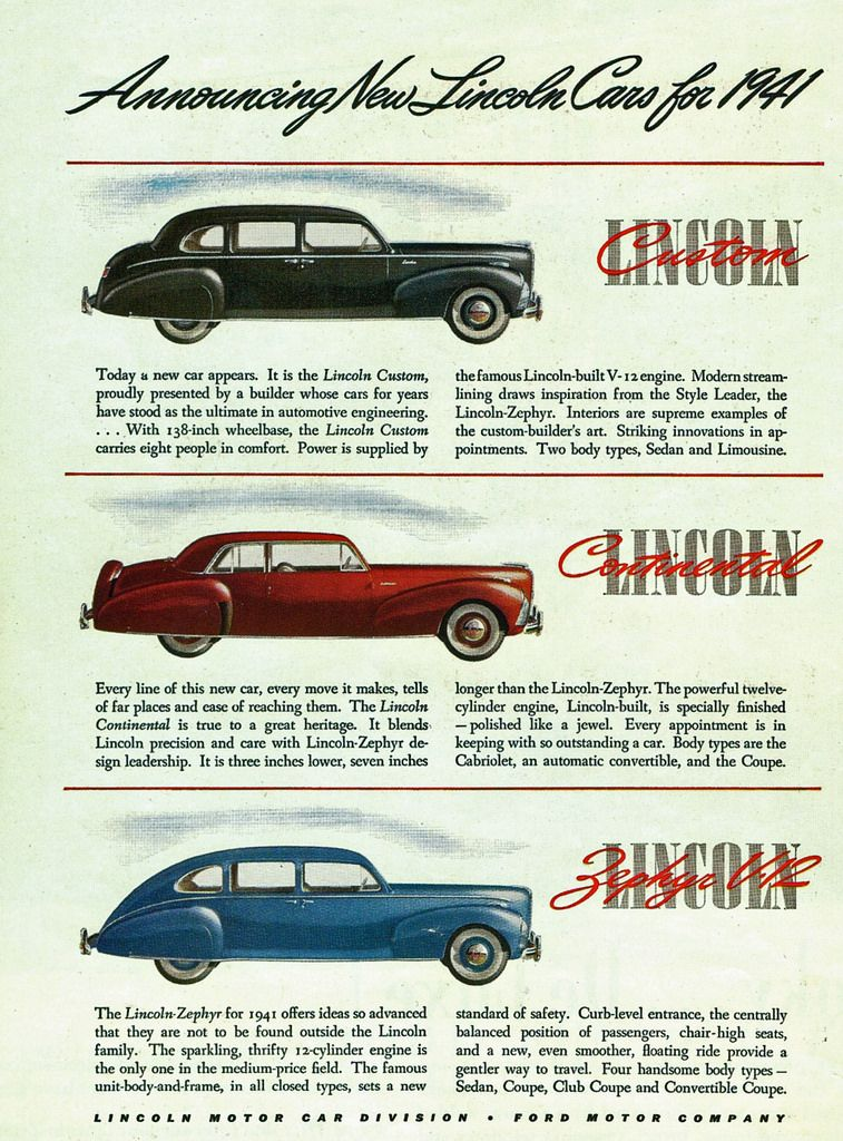 1941 Lincoln Continental Lineup Ad Ford Classic Cars Pinterest