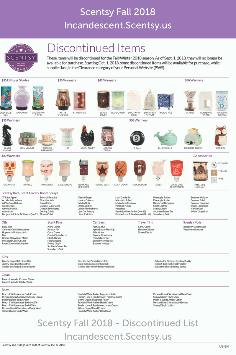 SCENTSY DISCONTINUED PRODUCTS FALL 2018 | Scentsy | Scentsy