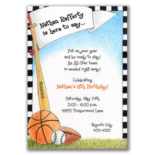 17 Best images about Jacksons 2 nd bday – Sports Themed Birthday Invitations