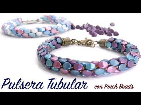 * Pulsera Tubular con Pinch Beads #Seed #Bead #Tutorials