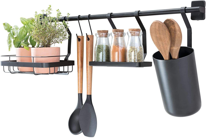iDesign Küchenstange Küchenreling mit Utensilienhalter, 15 Haken