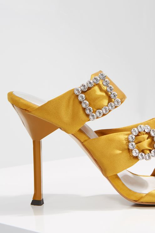 f4dbe105de8 Add a little extra detail to your outfit with these mustard embellished 3  buckle sandals.